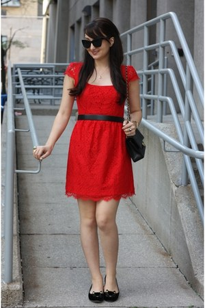 red lace Jacob dress - black 255 Chanel bag