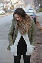 Gap jacket - H&M men cardigan - H&M dress - H&M scarf - Miu Miu purse - Guess bo