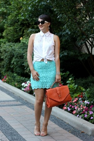 carrot orange satchel Nella Bella purse - off white sleeveless lace H&M blouse