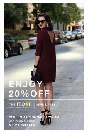 plum crepe Moon Apparel dress - Zara shoes - gauffre Prada bag