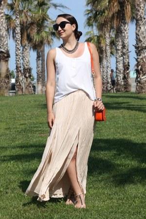 peach maxi Club Monaco skirt - carrot orange shoulder tory burch bag
