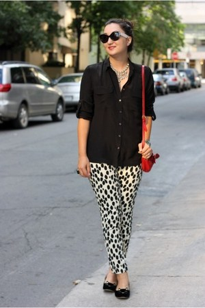 spotted H&M pants - kitty flats Charlotte Olympia shoes