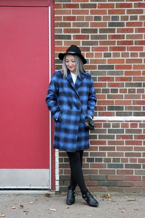 blue blue tartan planet coat - black ankle boots Yves Saint Laurent boots