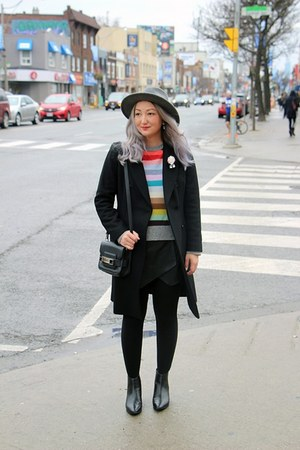 black Zara coat - heather gray H&M hat - hot pink crazy stripes Gap sweater