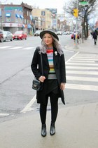 black Zara coat - heather gray H&M hat - hot pink crazy stripes Gap sweater