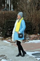 light blue Forever 21 coat - black glitter Zara boots
