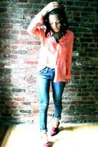 quincy blouse - skinny jeans Rogan jeans - Melissa wedges