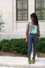 Olive-green-booties-ecote-boots-aquamarine-v-neck-bdg-t-shirt