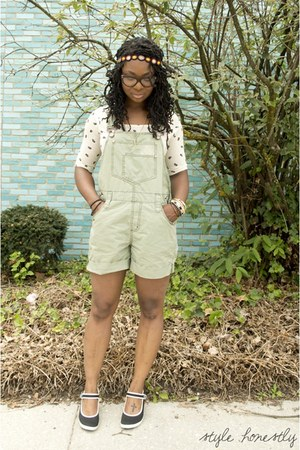 olive green Thrift Store romper - off white Urban Outfitters t-shirt