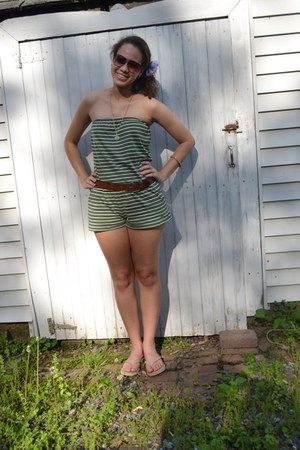 green striped Forever 21 romper - nude flip flops Old Navy sandals - light purpl