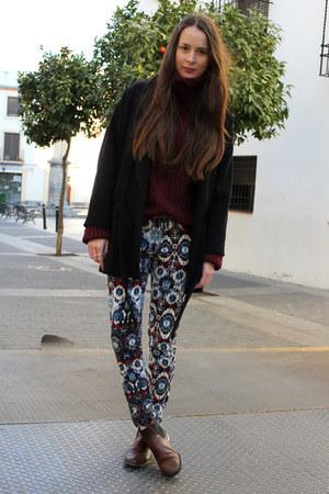 Zara pants - dark brown Zara boots - black Zara coat - crimson H&M sweater