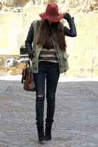pull&bear hat - Mango boots - Zara jacket - H&M sweater - Zara bag - H&M pants