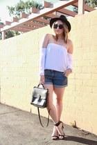 white Mombasa Rose top - black Forever 21 hat - black coach bag
