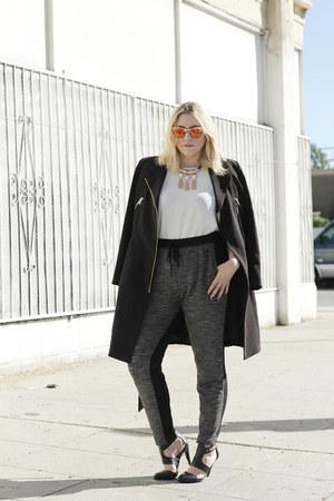 black H&M coat - white Forever 21 shirt