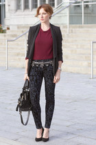 JBrand jeans - Line sweater - Tara Jarmon blazer - SANDRO bag