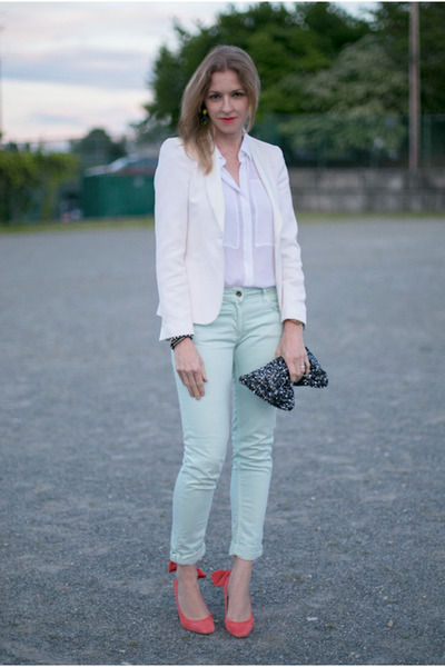 Zara blazer - SANDRO pants - Theory blouse - Carven pumps
