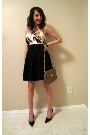 black Guess heels - white Bedo dress - camel asos purse - black Dynamite skirt