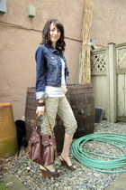 blue Sirens jacket - brown Matt & Nat purse - brown le chateau wedges - white Ur