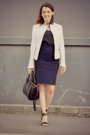 black H&M bag - white H&M blazer - black le chateau heels - black H&M skirt