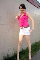 white Dynamite shorts - beige Aldo wedges - silver le chateau earrings - hot pin