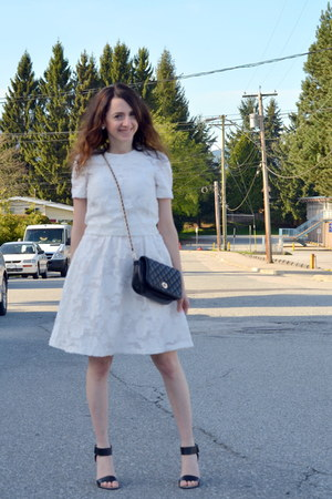 white H&M dress - black Tally Weijl bag - white H&M top - black le chateau flats