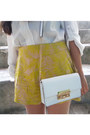 White-michael-kors-bag-yellow-h-m-shorts-dark-brown-steve-madden-sandals
