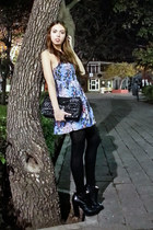 black Zara boots - blue Victorias Secret dress - black Moschino bag