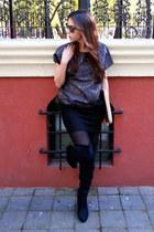black Christian Louboutin boots - gold Michael Kors bag - navy Zara blouse
