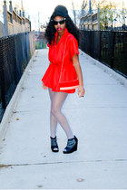 red thrifted vintage dress - black with chains httpmaterialworldonsugarcom shoes