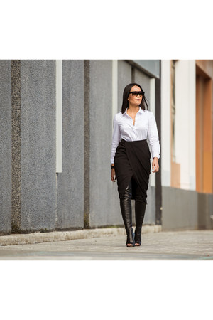 black boots boots - white Target shirt - black wrap skirt Target skirt