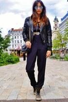 brown Kurt Geiger boots - black leather DKNY jacket - black vintage Chanel bag