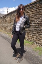 black leather biker DKNY jacket - light brown Kurt Geiger boots