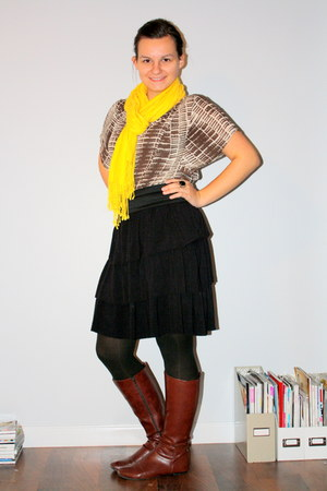 boots - skirt - shirt - scarf