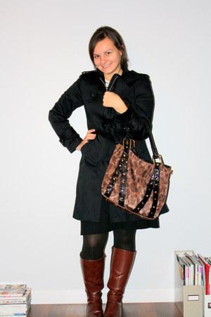 elle coat - Bakers bag - black dress - boots