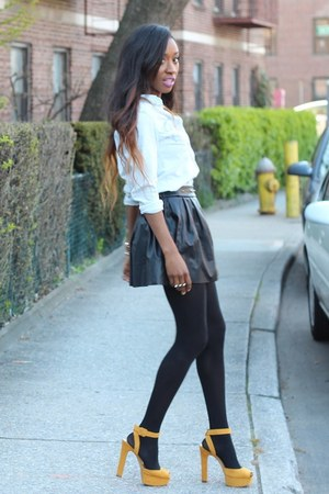 H&M shirt - Zara heels - necessary clothing skirt