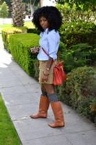 boots - tawny Urban boots - blue Tuxedo shirt - red crossbody bag - dark khaki C