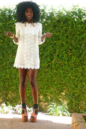 beige H&M dress - brown Jessica Simpson shoes - black H&M socks