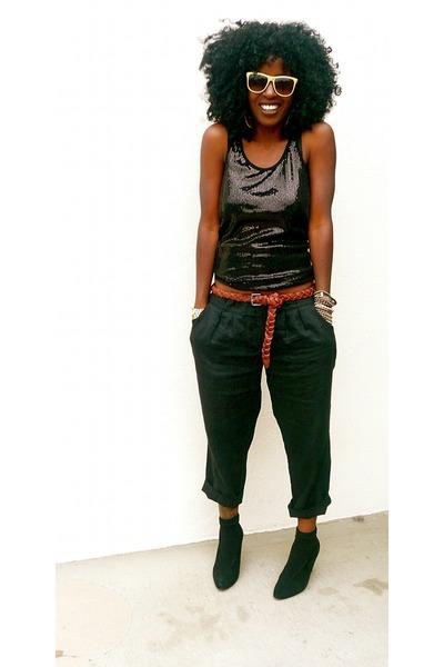 Black Sequin Top Outfit Black Sequins Tank Top Black