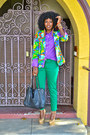 Chartreuse-skinny-jeans-yellow-floral-blazer-violet-jcrew-shirt