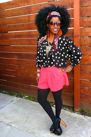 hot pink Pleated shorts - black polka dot blouse