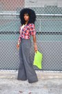 Red-plaid-hollister-shirt-chartreuse-american-apparel-purse