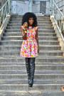 Hot-pink-zara-dress-black-over-the-knee-boots