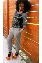 black H&M pants - gray Forever 21 blouse