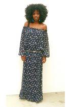 blue Victorias Secret dress - black vintage boots