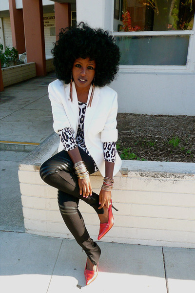 ivory H&M top - ruby red Guiseppe Zanotti shoes - white H&M blazer