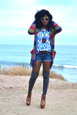 red Grandpa cardigan - blue DIY shorts - light blue Tribal top