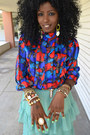 Red-vintage-blouse-aquamarine-romwe-skirt