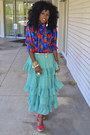 Aquamarine-romwe-skirt-red-vintage-blouse