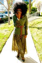 olive green vintage jacket - light brown H&M dress