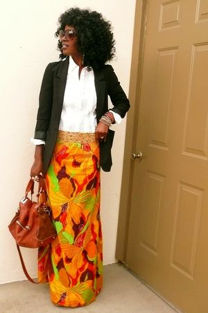 black boyfriend H&amp;M blazer - orange tuxedo Gap shirt - skirt